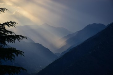 Sunset over the Tirthan valley